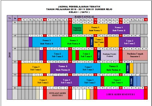 Jadwal Pelajaran Kurikulum 2013 Tahun Pelajaran 2018/2019