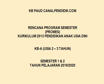 Program Semester Promes K13 KB PAUD Umur 2-3 Tahun
