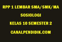 RPP 1 Lembar Sosiologi SMA/MA/SMK Kelas 10 Semester 2