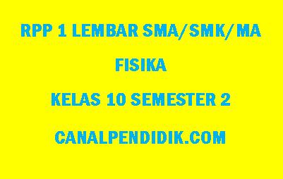RPP 1 Lembar Fisika SMA/MA/SMK Kelas 10 Semester 2