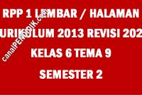 RPP Kelas 6 Tema 9 K13 Revisi 2020 Format 1 Lembar