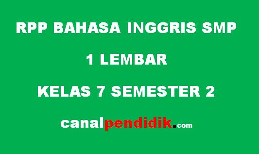 RPP 1 Lembar Bahasa Indonesia Kelas 7