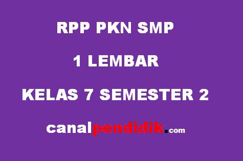 RPP SMP 1 Lembar Kelas 7 PKN Revisi 2020