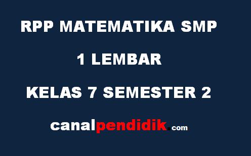 RPP SMP 1 Lembar Kelas 7 Matematika Revisi 2020