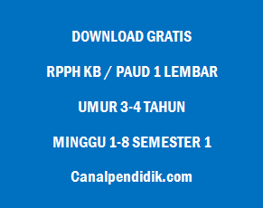 RPPH KB / PAUD 1 Lembar Umur 3-4 Tahun Minggu 1-8 Semester 1
