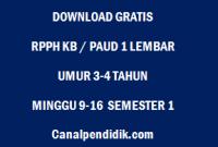 RPPH KB / PAUD 1 Lembar Umur 3-4 Tahun Minggu 9-16 Semester 1