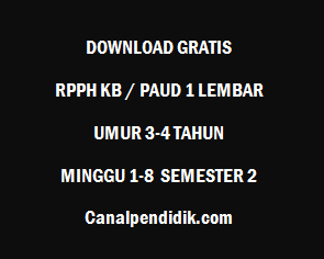 RPPH KB / PAUD 1 Lembar Umur 3-4 Tahun Minggu 1-8 Semester 2