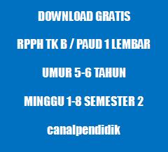 RPPH TK B / PAUD 1 Lembar Umur 5-6 Tahun Minggu 1-8 Semester 2