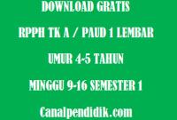 RPPH TK A / PAUD 1 Lembar Umur 4-5 Tahun Minggu 9-16 Semester 1