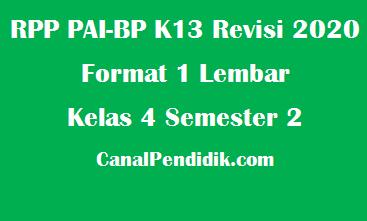RPP PAI SD Kelas 4 Semester 2 Format 1 Lembar