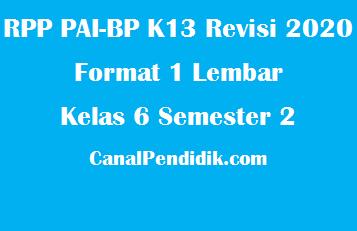 RPP PAI SD Kelas 6 Semester 2 Format 1 Lembar