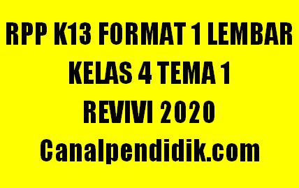 RPP 1 Lembar Kelas 4 Tema 1 K13 Revisi 2020