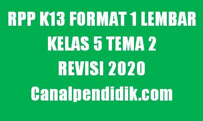 RPP 1 Lembar Kelas 5 Tema 2 K13 Revisi 2020