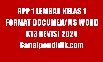 RPP 1 Lembar Kelas 1 Semester 1 Format Documen/Ms Word
