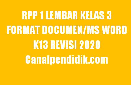 RPP 1 Lembar Kelas 3 Semester 1 Format Documen/Ms Word