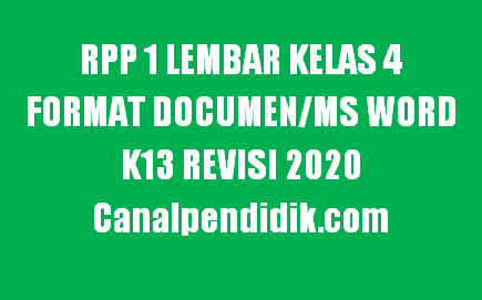 RPP 1 Lembar Kelas 4 Semester 1 Format Documen/Ms Word