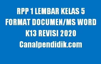 RPP 1 Lembar Kelas 5 Semester 1 Format Documen/Ms Word