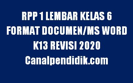 RPP 1 Lembar Kelas 6 Semester 1 Format Documen/Ms Word