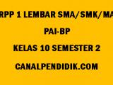 RPP 1 Lembar PAI-BP SMA/MA/SMK Kelas 10 Semester 2