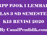 RPP PJOK SD 1 Lembar Kelas 3 Semester 2