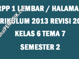 RPP Kelas 6 Tema 7 K13 Revisi 2020 Format 1 Lembar
