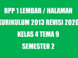 RPP Kelas 4 Tema 9 K13 Revisi 2020 Format 1 Lembar