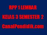RPP 1 Lembar Kelas 3 Semester Genap