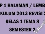 RPP Kelas 1 Tema 8 K13 Revisi 2020 Format 1 Lembar