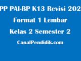 RPP PAI SD Kelas 2 Semester 2 Format 1 Lembar