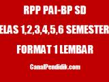 RPP PAI SD Kelas 1, 2, 3, 4, 5, dan 6 Semester 2 Format 1 Lembar