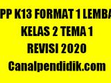RPP 1 Lembar Kelas 2 Tema 1 Semester 1 K13 Revisi 2020