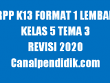 RPP 1 Lembar Kelas 5 Tema 3 K13 Revisi 2020