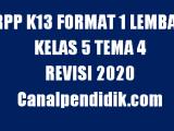 RPP 1 Lembar Kelas 5 Tema 4 K13 Revisi 2020