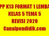 RPP 1 Lembar Kelas 5 Tema 5 K13 Revisi 2020