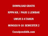RPPH KB / PAUD 1 Lembar Umur 3-4 Tahun Minggu 9-16 Semester 2