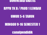 RPPH TK B / PAUD 1 Lembar Umur 5-6 Tahun Minggu 9-17 Semester 2