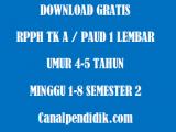 RPPH TK A / PAUD 1 Lembar Umur 4-5 Tahun Minggu 1-8 Semester 2